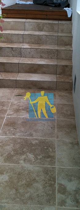 stone tiles outdoor stairs dirty before cleaning melbourne