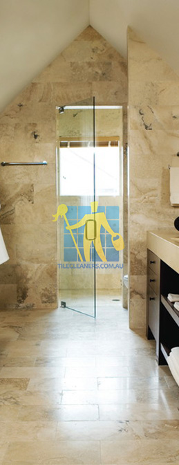 travertine tiles bathroom floor wall shower with dark veining melbourne