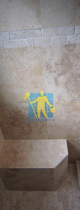 travertine tiles floor wall bathroom natural stone shower with seat melbourne